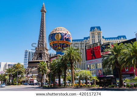 LAS VEGAS, NEVADA - May 1: World famous Vegas Strip in Las Vegas, Nevada as seen on May 1, 2016. Stretching 4.2 miles, the Strip is home to the largest hotels and casinos in the world