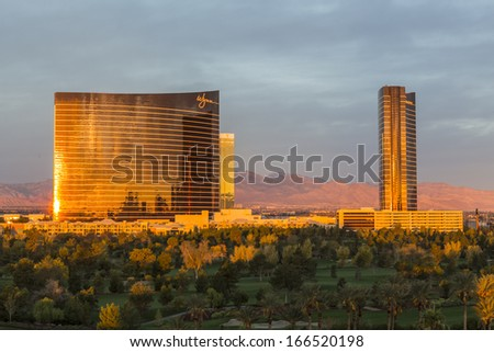 LAS VEGAS, NEVADA - Nov 28:  Dawn view of the Wynn and Encore towers at the upscale Wynn casino resort on the Las Vegas strip. The two towers total 4750 rooms on November 28, 2013 in Las Vegas Nevada. - stock photo