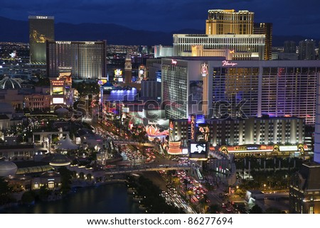 LAS VEGAS, NEVADA - OCT. 6:  Flamingo, Treasure Island and other resorts on the strip on October 6, 2011 in Las Vegas, Nevada. Vegas has 147,611 hotel rooms with a average daily rate of $106.