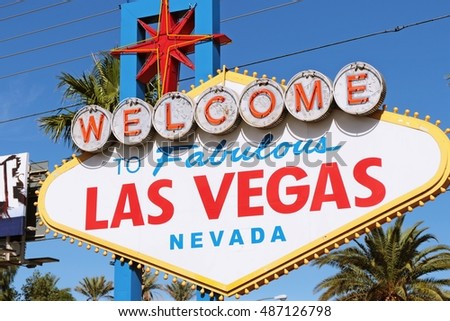 LAS VEGAS, NEVADA - 29 Oct.2015 Welcome to Never Sleep city Las Vegas sign