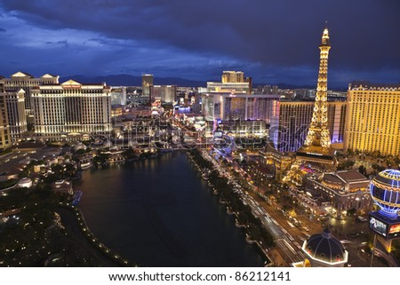 LAS VEGAS, NEVADA - October 6:  Caesars Palace, Bellagio and Paris resorts on the strip. Vegas has 147,611 hotel rooms with a average daily rate of $106 on October 6, 2011 in Las Vegas, Nevada. - stock photo