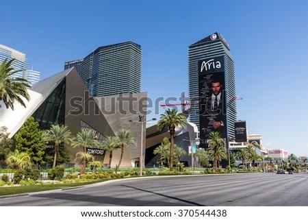 LAS VEGAS, NEVADA - SEPTEMBER 8: Exterior views of the Aria Casino Resort on the Las Vegas Strip on September 8, 2015. The Aria Casino Resort  is a famous and popular luxury casino in Vegas. - stock photo