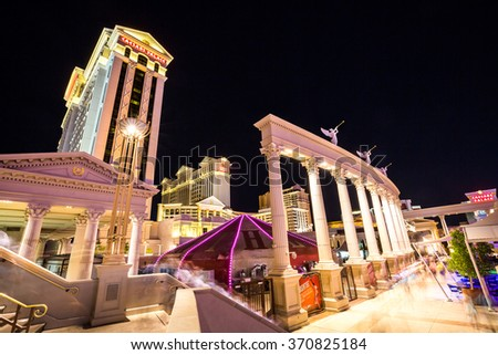 LAS VEGAS, NEVADA - SEPTEMBER 9: Exterior views of the Caesars Palace Casino on the Las Vegas Strip on September 9, 2015. The Caesars Palace Casino is a famous and popular luxury casino in Vegas. - stock photo
