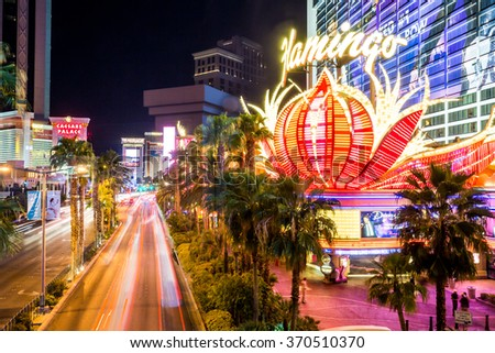 LAS VEGAS, NEVADA - SEPTEMBER 9: Exterior views of the Flamingo Casino Resort on the Las Vegas Strip on September 9, 2015. The Flamingo Casino Resort is a famous and popular luxury casino in Vegas. - stock photo