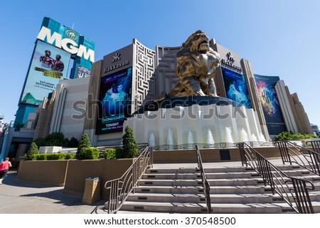LAS VEGAS, NEVADA - SEPTEMBER 9: Exterior views of the MGM Grand Casino on the Las Vegas Strip on September 9, 2015. The MGM Grand Casino is a famous and popular luxury casino in Vegas. - stock photo
