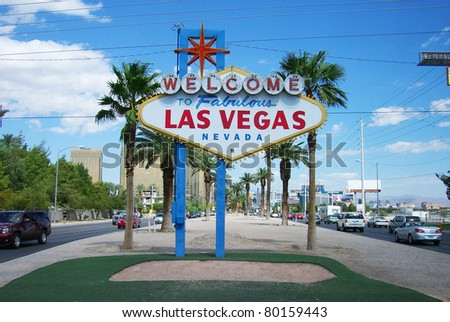LAS VEGAS, NEVADA - SEPTEMBER 19: Famous neon welcome sign near the strip on September 19, 2008 in Las Vegas. Built in 1959 at a cost of $4000, it stands 25 feet high. - stock photo