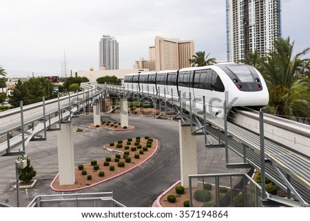Las Vegas, Nevada, United States -  August, 21st, 2015  Las Vegas transportation Monorail.