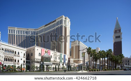 LAS VEGAS, NEVADA, US - MARCH 22, 2016: The Venetian Resort Hotel Casino is located on the 'Strip.' The luxury resort has a five-diamond hotel with 4,049 suites and 4,059 hotel rooms.