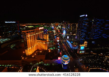 LAS VEGAS, NEVADA, USA - APRIL 22, 2015: Aerial view of Strip, stretch of 4.2 miles at Las Vegas Boulevard, the main street and home of the largest hotels and casinos on April 22, 2015 in Las Vegas.