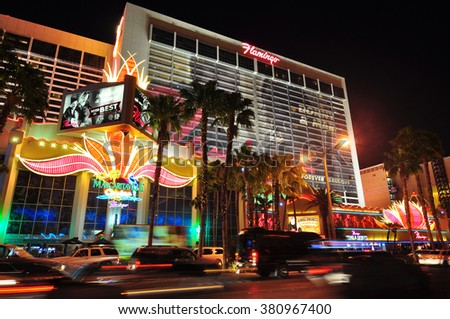 LAS VEGAS, NEVADA, USA - APRIL 16, 2014 : The Flamingo Las Vegas is a hotel and casino located on the Las Vegas Strip in Paradise, Las Vegas, Nevada and is owned and operated by Caesars Entertainment. - stock photo