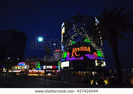 LAS VEGAS, NEVADA, USA - APRIL 22, 2015: The Riviera Hotel and Casino on April 22, 2015 in Las Vegas. The Riviera is one of the first flashy hotel casinos to open on Las Vegas Boulevard in 1955. - stock photo
