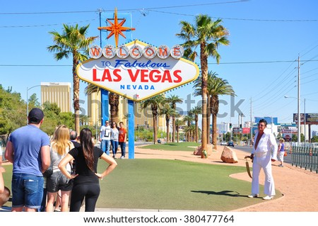 LAS VEGAS, NEVADA, USA-APRIL 16, 2014 : The Welcome to Fabulous Las Vegas sign is a Las Vegas landmark funded in May 1959 and erected soon after by Western Neon. The sign was designed by Betty Willis. - stock photo