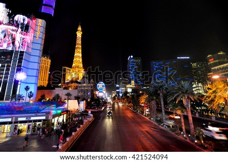 LAS VEGAS, NEVADA, USA - APRIL 21, 2015: View of the Strip on April 21, 2015 in Las Vegas. The Las Vegas Strip is an approximately 4.2-mile (6.8 km) stretch of Las Vegas Boulevard in Clark County.