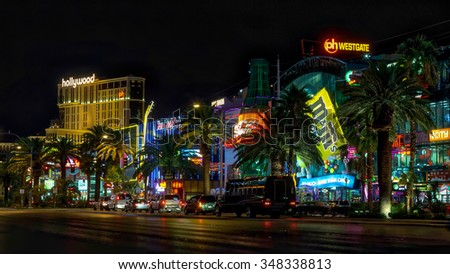 LAs VEGAS, NEVADA/USA - AUGUST 2 ; Night scene along The Strip in Las Vegas Nevada on August 2, 2011