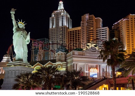 LAs VEGAS, NEVADA/USA - AUGUST 2 ; Replica      Statue of Liberty at night in Las Vegas Nevada on August 2, 2011. Unidentified people. - stock photo