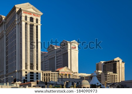 LAs VEGAS, NEVADA/USA - AUGUST 1 ; View at sunrise of Caesar's Palace in Las Vegas Nevada on August 1, 2011