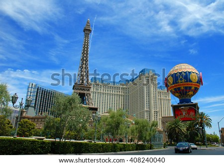 LAS VEGAS, NEVADA, USA, July 20. The beautiful famous Paris hotel in a cloudy blue sky. The Paris hotel is one of the popular and marvelous hotels in Las Vegas. July 20, 2007, LAS VEGAS, NEVADA, USA - stock photo