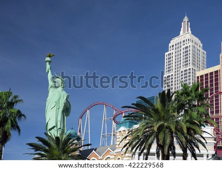 LAS VEGAS, NEVADA, USA - MARCH 25, 2016: City was founded in May 1905 and incorporated as the city in 1911. Pictured is Las Vegas Boulevard with New York Hotel and replica of the Staue of Liberty.  - stock photo