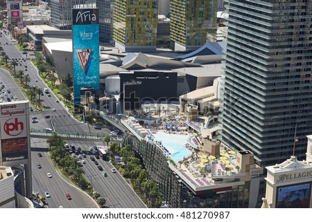 LAS VEGAS, NEVADA USA - MARCH 25, 2016: City was founded in May 1905 and incorporated as the city in 1911. First casino was legaized in 1931. Pictured are The Cosmopolitan Hotel and The Strip.