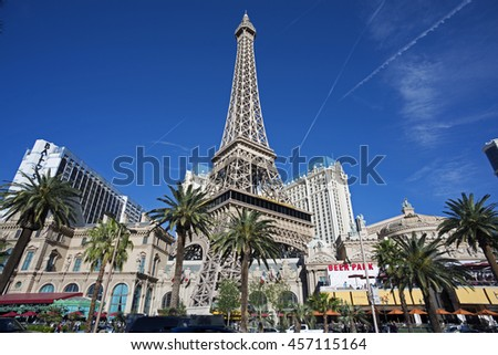 LAS VEGAS, NEVADA , USA - MARCH 22, 2016: Paris Hotel, replica of Eiffel Tower and casino in Las Vegas. Stretching 4.2 miles, the 'Strip' is the home to the largest hotels and casinos in the world. - stock photo