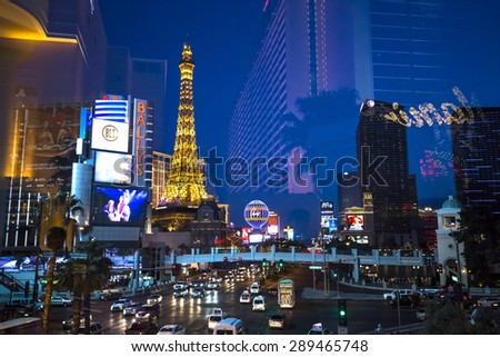 LAS VEGAS, NEVADA, USA, may 14, 2015 : on the Strip, Las Vegas boulevard, may 14, 2015 in Las Vegas, Nevada.