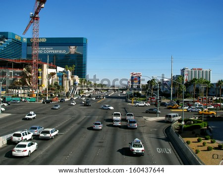 LAS VEGAS, NEVADA, USA  - NOVEMBER 11, 2012: Aerial View Busy Street. - stock photo