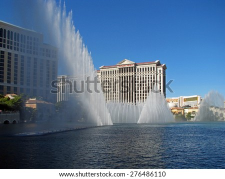 LAS VEGAS, NEVADA, USA  - NOVEMBER 03: The Dancing Fountains of Bellagio Hotel and Casino 2012