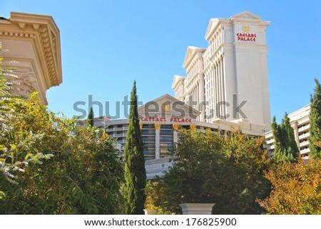 LAS VEGAS, NEVADA, USA - OCTOBER 21, 2013 :  Caesar's Palace in Las Vegas, Caesar's Palace hotel opened in 1966 and has a Roman Empire theme.  - stock photo