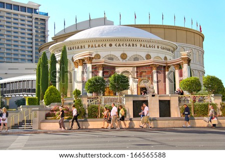 LAS VEGAS, NEVADA, USA - OCTOBER 20 :  Caesar's Palace on the Vegas Strip on October 20, 2013 in Las Vegas, Caesar's Palace hotel opened in 1966 and has a Roman Empire theme.  - stock photo