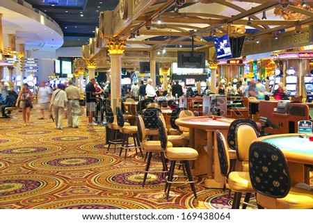 LAS VEGAS, NEVADA, USA - OCTOBER 20, 2013 : Casino in Caesar's Palace   in Las Vegas, Caesar's Palace hotel opened in 1966 and has a Roman Empire theme.  - stock photo