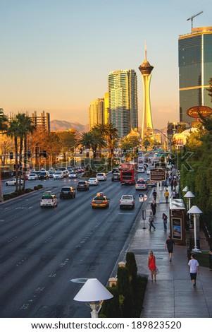 LAS VEGAS, NEVADA, USA - OCTOBER 25, 2013 : City landscape. Sunrise in Las Vegas, Nevada. 40 million tourists visited Las Vegas in 2012 - stock photo