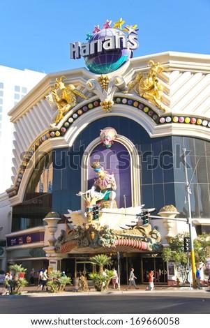 LAS VEGAS, NEVADA, USA - OCTOBER 20, 2013 : Harrah's Hotel and Casino   in Las Vegas, Harrahs casino features over 1,200 slot machines, 80 table games, Keno, Bingo and a sports book.  - stock photo