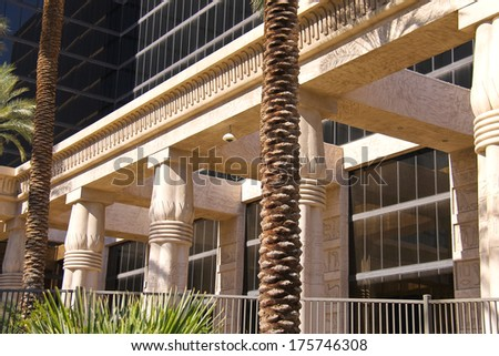 LAS VEGAS, NEVADA, USA - OCTOBER 21, 2013 : Luxor Hotel and Casino in Las Vegas. Theme hotel Egypt and it was opened in 1993 - stock photo