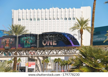 LAS VEGAS, NEVADA, USA - OCTOBER 21, 2013 : Monorail train in Las Vegas. This type of transport is very popular in Las Vegas