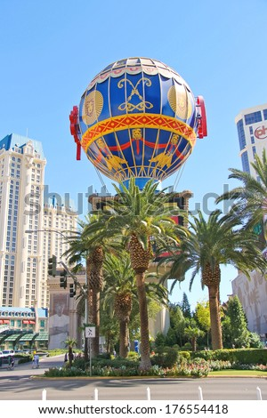 LAS VEGAS, NEVADA, USA - OCTOBER 21, 2013 : Montgolfier Balloon near Paris Hotel in Las Vegas . Opened in 1999 and demonstrates the sights of Paris