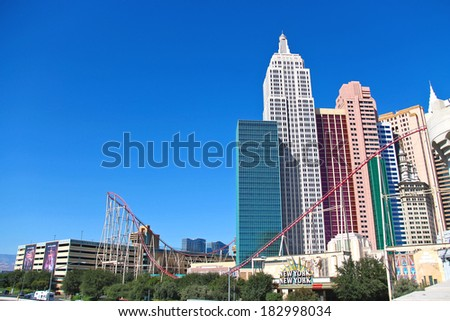 LAS VEGAS, NEVADA, USA - OCTOBER 21, 2013 :  New York-New York Hotel and Casino in Las Vegas . The hotel opened in 1997 and  located on the famous Las Vegas Strip.  - stock photo