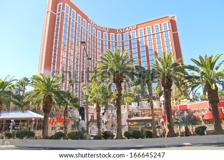 LAS VEGAS, NEVADA, USA - OCTOBER 20 : Treasure Island hotel and casino on October 20, 2013 in Las Vegas,  This Caribbean themed resort has an hotel with 2,884 rooms, and located on  Las Vegas Strip