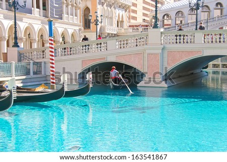 LAS VEGAS, NEVADA, USA - OCTOBER 20 :  Venetian  Hotel on October 20, 2013 in Las Vegas, The resort opened on May 3, 1999. One of the most luxurious hotels in Las Vegas