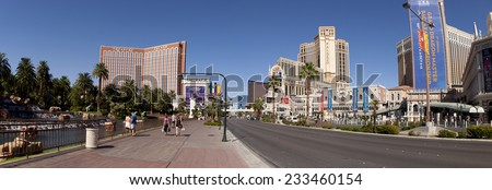 Las Vegas, Nevada, USA - Sept. 22, 2014: A panoramic view along Las Vegas Blvd showing some of the famous landmark hotels and casinos in Las Vegas, Nevada, USA on Sept. 22, 2014