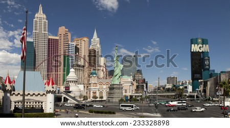 Las Vegas, Nevada, USA - Sept. 20, 2014: Panoramic view of the Las Vegas Strip showing the New York-New York and MGM Grand Hotel and Casino in Las Vegas, Nevada, USA on Sept. 20, 2014 - stock photo