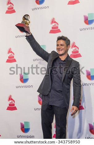 LAS VEGAS , NOV 19 : Alejandro Sanz, winner of the Best Pop Vocal Album Award poses in the press room during the 16th Annual Latin GRAMMY Awards on November 19 2015 in Las Vegas, Nevada