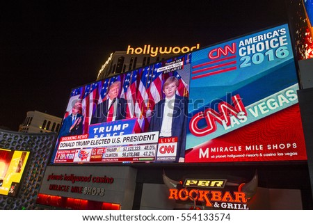 LAS VEGAS - NOV 08 : Election night in Las Vegas strip on November 08 2016 , CNN election broadcasts were projected on a giant screens