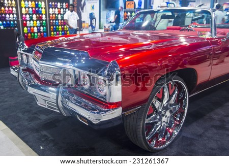 LAS VEGAS - NOV 07 : Old classic car at the SEMA Show in Las Vegas, Navada, on November 07, 2014. The SEMA Show is the premier automotive specialty products trade event in the world.