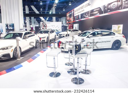 LAS VEGAS - NOV 07 : The BMW booth at the SEMA Show in Las Vegas, Navada, on November 07, 2014. The SEMA Show is the premier automotive specialty products trade event in the world. - stock photo
