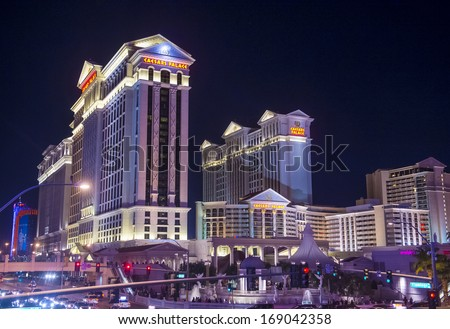 LAS VEGAS - NOV 15 :The Ceasers Palace hotel on November 15, 2013 in Las Vegas. Caesars Palace is a luxury hotel and casino located on the Las Vegas Strip. Caesars has 3,348 rooms in five towers  - stock photo