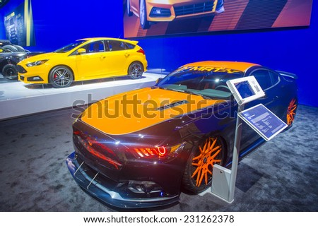 LAS VEGAS - NOV 07 : The Ford booth at the SEMA Show in Las Vegas, Navada, on November 07, 2014. The SEMA Show is the premier automotive specialty products trade event in the world. - stock photo