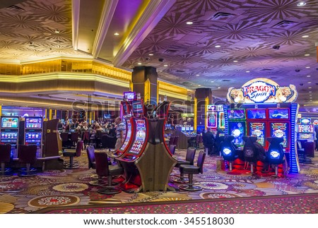 LAS VEGAS - NOV 17 : The interior of MGM hotel and casino in Las Vegas on November 17 , 2015. The MGM Grand is the third largest hotel in the world and the largest hotel resort complex in the USA - stock photo