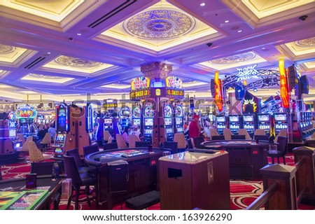 LAS VEGAS - NOV 15 : The interior of the Venetian hotel & Casino in Las Vegas on November 15, 2013. With more than 4000 suites it's one of the most famous hotels in the world. - stock photo