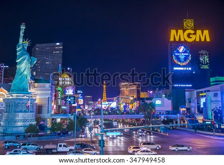 LAS VEGAS - NOV 17 : View of the strip in Las Vegas on November 17 2015. The Las Vegas Strip is an approximately 4.2-mile (6.8 km) stretch of Las Vegas Boulevard in Clark County, Nevada. - stock photo
