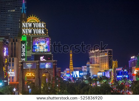 LAS VEGAS - NOV 24 : View of the strip in Las Vegas on November 24 2016. The Las Vegas Strip is an approximately 4.2-mile (6.8 km) stretch of Las Vegas Boulevard in Clark County, Nevada.